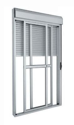 Porta Integrada em Alumínio Branco com Persiana de Enrolar e 2 Folhas Móveis Vidro Liso Acionamento Manual Com Fechadura - Linha 25 Trifel