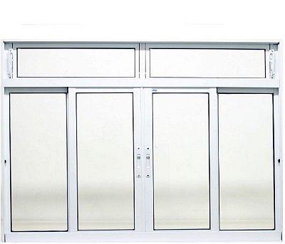 Janela de Correr em Alumínio Branco 4 Folhas Com Bandeira Vidro Liso Incolor - JAP Perfecta Max