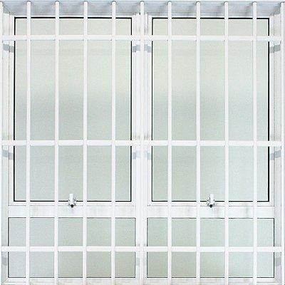 Janela Maxim-ar em Alumínio Branco Duas Seções Horizontal Com Bandeira e Grade Fixa Vidro Mini Boreal - JAP 25