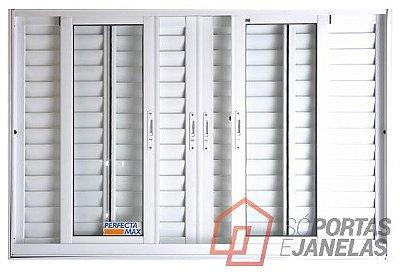Janela Veneziana em Alumínio Branco 6 Folhas Vidro Liso Incolor - JAP Perfecta Max