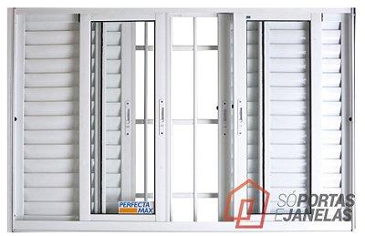 Janela Veneziana em Alumínio Branco 6 Folhas Com Grade Vidro Liso Incolor - JAP Perfecta Max