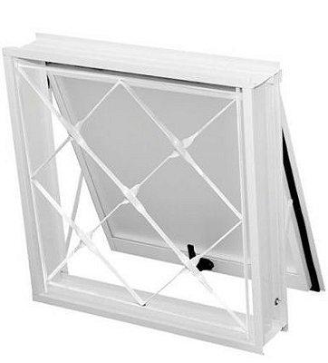 Janela Maxim-Ar em Aço Branco Uma Seção com Grade Xadrez Com Vidro - Requadro 12 cm - Gerotto Ellegance