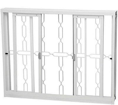 Janela de Correr em Aço Branco 4 Folhas Com Grade Elo Com Vidro Liso Incolor - Requadro 12 cm - Gerotto Ellegance