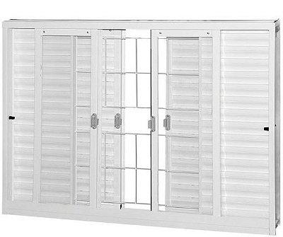 Janela Veneziana em Aço Branco 6 Folhas Com Grade Quadriculada Com Vidro Liso Incolor - Requadro 12 cm - Gerotto Ellegance