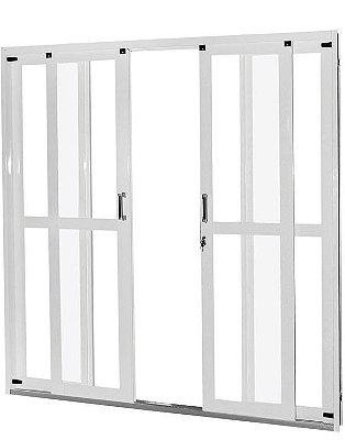 Porta de Correr em Aço Branco 4 Folhas Panorâmica com Vidro Liso Incolor e Fechadura - Requadro 12 cm - Gerotto Ellegance