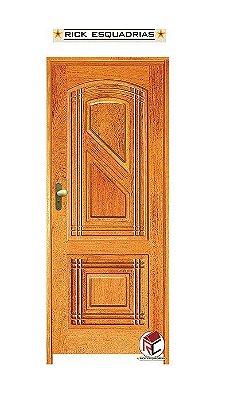 Porta de Abrir (Giro) Linear em Madeira Maciça Angelim com Fechadura e Maçaneta Externa Taco de Golf Batente de 14 Cm - Rick Esquadrias