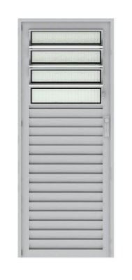 Porta de Abrir (Giro) em Alumínio Brilhante Com Basculante Vidro Canelado - Linha 25 Basculante
