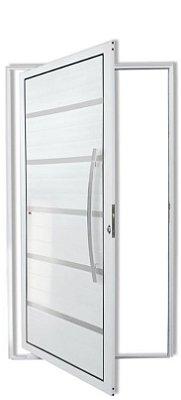 Porta Pivotante em Alumínio Branco Premium C/Friso Puxador 80 cm Milão Fechadura Rolete - Brimak Super
