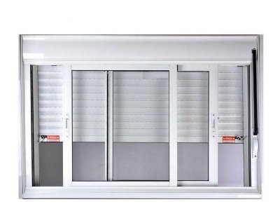 Janela Integrada em Alumínio Branco com Persiana de Enrolar e 2 Folhas Móveis Vidro Liso Acionamento Manual - Linha Jap Taparella Perfecta