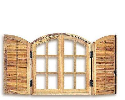 Janela Veneziana em Madeira Cedro Arana 4 Folhas de Abrir (Giro) com Ferragens em Arco sem Vidro - Batente de 14 Cm Uniportas