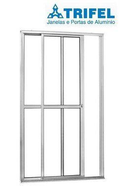 Saldão - Porta de Correr em Alumínio Branco 2 Folhas Uma Fixa Vidro Liso Com Fechadura 2,10 X 1,20 - Linha 25 Trifel - Última Peça