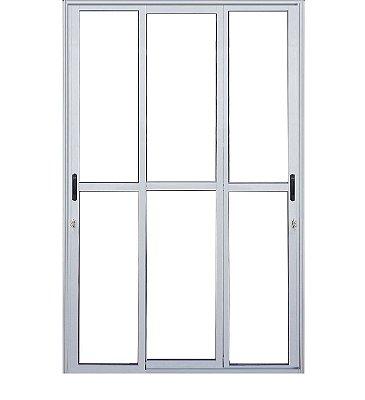 Saldão - Porta de Correr em Alumínio Branco 3 Folhas Móveis Vidro Liso Com Fechadura 2,10 X 1,20  - Linha 25 Premium Lux - Última Peça