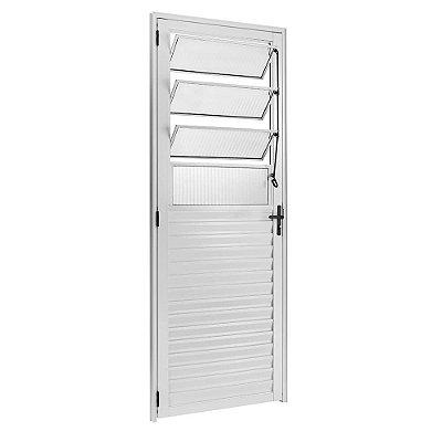 Porta de Abrir (Giro) em Alumínio Branco Com Basculante Vidro Canelado - Linha 25