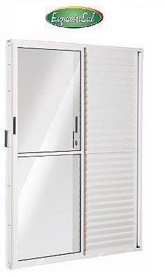 Saldão - Porta Balcão em Alumínio Branco 3 Folhas Uma Fixa Vidro Liso e Veneziana Com Fechadura 2,10 X 1,20 Esquerda - Linha 25 Esquadrisul - Última Peça