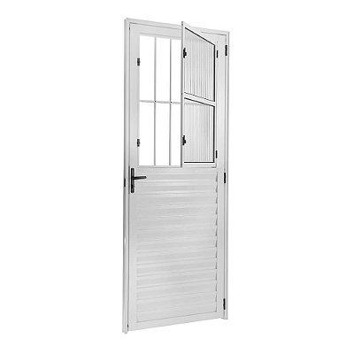 Porta de Abrir (Giro) em Alumínio Branco Social com Postigo Vidro Canelado - Linha 25