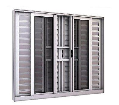 Oferta - Janela Veneziana em Alumínio Fosco 6 Folhas Com Grade Vidro Liso Incolor 1,00 X 2,00 - Linha Modular Esap - Última Peça