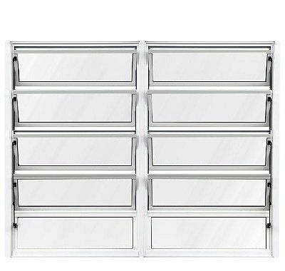 OFERTA - Janela Basculante em Alumínio Branco duas Seções Vidro Canelado Com Acessórios na cor Preta - 1,00 X 2,00 - Lux Esquadrias - ÚLTIMA PEÇA