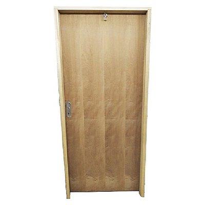 Porta de Abrir (Giro) em Madeira Lisa Imbuia Para Verniz e Pintura Batente de 14 cm com Fechadura e Maçaneta Interna - Uniportas