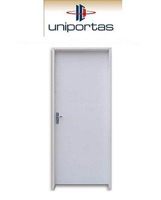 Saldão - Porta de Abrir (Giro) Semi-Pronta em Madeira Lisa HDF Pintura Branca Primer Batente de 11 cm com Fechadura e Maçaneta Interna 2,10 x 0,72 Esquerda - Uniportas - Última Peça
