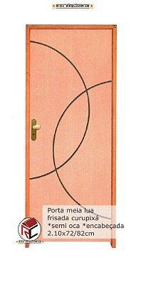 Porta de Abrir (Giro) Meia Lua em Madeira Curupixá Riscada  Montada no Batente de 14 cm com Fechadura e Maçaneta Taco de Golfe - Rick Esquadrias