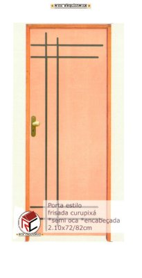 Porta de Abrir (Giro) Estilo em Madeira Curupixá Riscada  Montada no Batente de 14 cm com Fechadura e Maçaneta Taco de Golfe - Rick Esquadrias