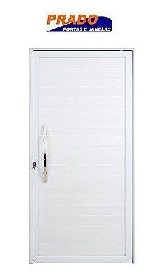 Porta Pivotante em Alumínio Branco Lambril Com Puxador 60 cm Fechadura Rolete - Linha Boldie Prado