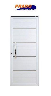 Porta Pivotante em Alumínio Branco Lambril Com Friso e Puxador 60 cm Fechadura Rolete - Linha Boldie Prado