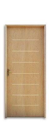 Porta de Madeira Semi-Oca Cristal Padrão Imbuia C/ Fechadura Ext. Navas Montada No Batente Misto 14 cm - Uniportas