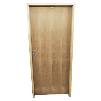 Porta de Abrir (Giro) em Madeira Semi Oca Lisa Imbuia Para Verniz e Pintura Batente de 11 cm com Fechadura e Maçaneta Interna - Uniportas