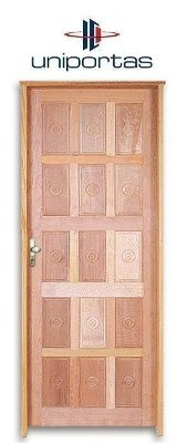 Porta de Abrir (Giro) Torneada 15 Almofadas Reta em Madeira Mista com Fechadura e Maçaneta Externa Dourada - Batente de 11 Cm Uniportas