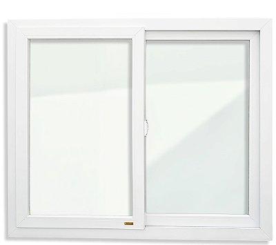 Janela de Correr PVC Branco 2 Folhas Móveis Vidro Liso Incolor - Brimak iTEC
