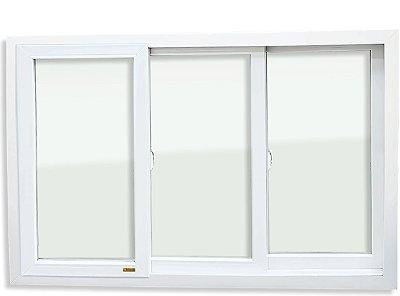 Janela de Correr PVC Branco 3 Folhas Móveis Vidro Liso Incolor - Brimak iTEC