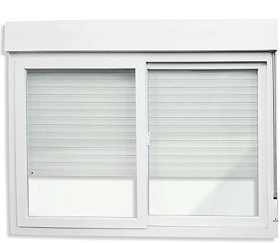 Janela Integrada em PVC Branco com Persiana de Enrolar e 2 Folhas Móveis Vidro Liso Acionamento Manual - Linha iTEC Brimak