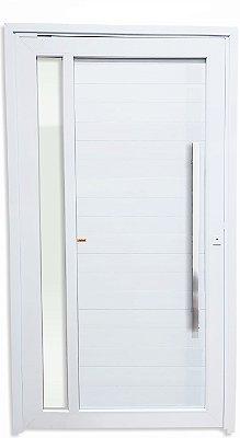 Porta Pivotante PVC Branco Visione C/ Vidro Temp. Lateral e Puxador de 100 cm Milão Polido Fechadura Rolete - Brimak TECplus100