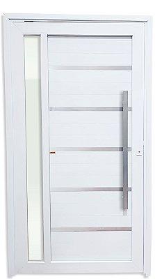 Porta Pivotante Miraggio em PVC Branco com Lambril em Alumínio e Friso C/ Visor Lateral Vidro Temperado e Puxador 100 cm Fechadura Rolete - Linha TecPlus 100