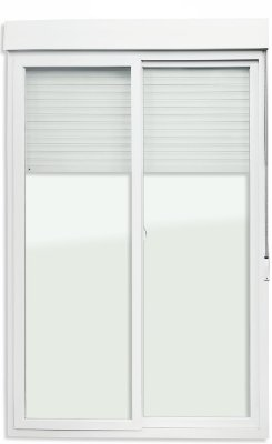 Porta Integrada em PVC Branco com Persiana de Enrolar e 2 Folhas Móveis Vidro Temperado Acionamento Manual - Brimak iTEC