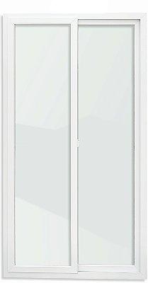 Porta de Correr PVC Branco 2 Folhas Móveis Vidro Temperado - Brimak iTEC