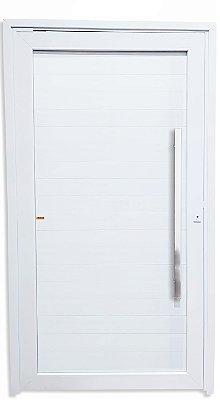 Porta Pivotante PVC Branco com Lambril em Alumínio Puxador de 100 cm Milão Polido Fechadura Rolete - Brimak TECplus100