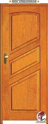 Porta de Madeira Maciça Pérola Angelim 2 Lados Iguais C/ Fech. T. Golf Montada no Batente Misto 14 cm - Rick Esquadrias