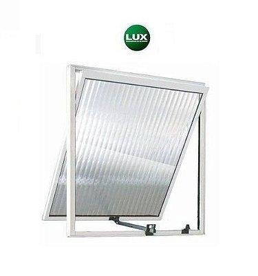 OFERTA - Janela Maxim-ar em Alumínio Branco Uma Seção Vidro Canelado 0,60 X 0,60 - Linha 16 Lux - Última Peça