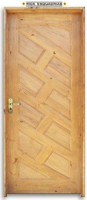 Porta de Madeira Topázio Diag. 10 Almof. P. Imbuia C/ Fech. Tambor Montada no Batente Misto 14 cm - Rick Esquadrias