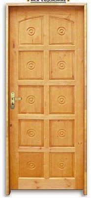 Porta de Madeira Maciça Torneada 10 Almof. Ecol. C/ Fech. Tambor Montada no Batente Misto 11 cm - Rick Esquadrias
