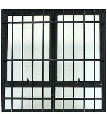 Janela Maxim-ar em Alumínio Preto Duas Secções Com Bandeira Fixa Com Grade Vidro Mini Boreal - Jap 25