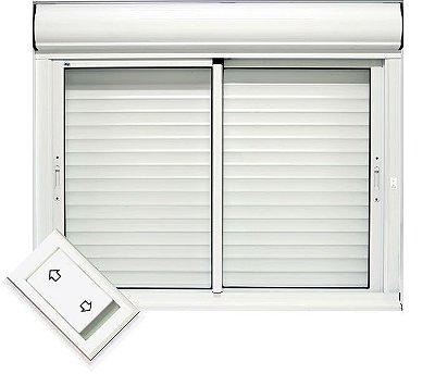 Janela Integrada Em Alumínio Branco Duas Folhas Móveis Acionamento automático por interruptor Vidro Liso - Jap Taparella Caribe Max