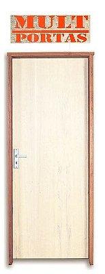 Porta de Abrir (Giro) em Madeira Lisa Amescla Para Pintura Batente de 11 cm com Fechadura e Maçaneta Interna - Mult Portas