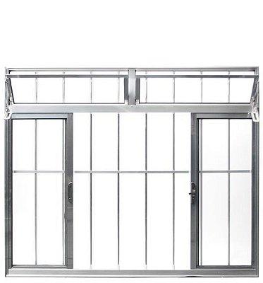 Janela de Correr em Alumínio Brilhante 4 Folhas com Bandeira e Grade Vidro Liso Incolor - Esquadrisul