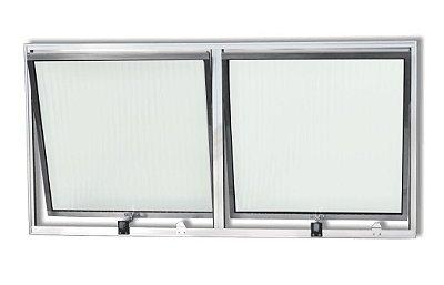 Janela Maxim-ar em Alumínio Brilhante Com Limitador duas Seções Horizontal Vidro Mini Boreal - Linha Moderna - Esquadrisul