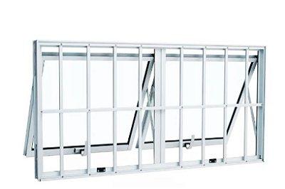 Janela Maxim-ar em Alumínio Branco duas Seções Horizontal com Grade Vidro Mini Boreal - Linha Max Lux Esquadrias