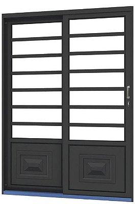 Porta de Correr em Aço 2 Folhas com Travessa sem Vidro com Fechadura - Requadro 12 cm - Linha Ouro Gerotto
