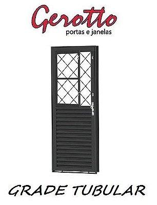 Porta de Abrir Social Mista  em Aço com Postigo (4 opções de grades) sem Vidro com Fechadura - Requadro 12 cm - Linha Prata Gerotto